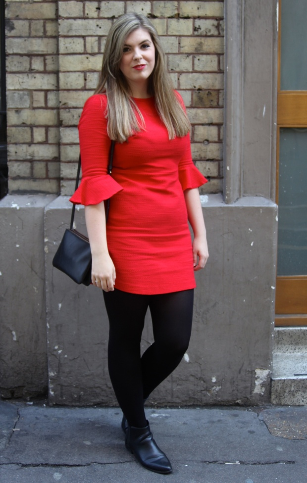 Frocks and Flowers UK Lifestyle Blog London Fashion Week Soho Red Topshop Dress Sixties Style