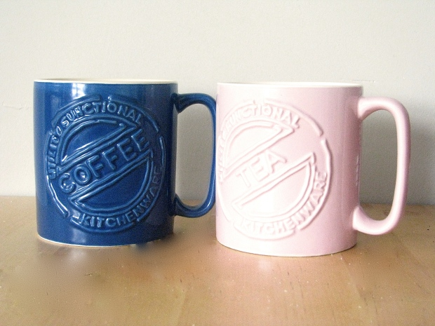 Pink and blue his and hers coffee and tea mugs