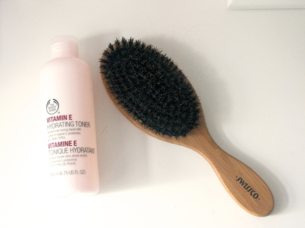 body Shop vitamin e toner, boar bristle natural hairbrush