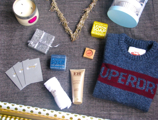 TK Maxx Christmas Haul Gift Guide Glitter Decorations Cards Wrapping Paper Gold Metallix Superdry Jumper Emma Hardie Cleanser Stila Eyeshadow Parks Candles Scottish Fine Soaps bargains